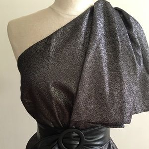 Zara Metallic One Shoulder Women's Top Size Sm